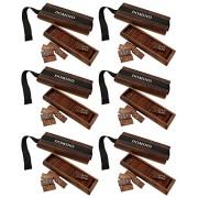 Conjunto de 6 - indio bandeja de baldosas de domino de madera juego - conjunto de juegos completa - dominó viajes conjunto de doble -17.8 x 5,6 x 3,8 cm