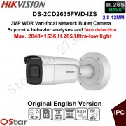Hikvision 3MP Vari-focal Security IP Camera Ultra-low light H.265 DS-2CD2635FWD-IZS Bullet CCTV Camera 2.8-12mm face detection