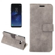 For Samsung Galaxy S8 Sheep Bar Material Horizontal Flip Leather Case with Holder & Card Slots & Wallet & Photo Frame (Grey)