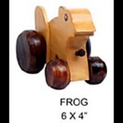 Kanu Curio Handmade Wooden Pull Along Toy for Little Walkers in Frog Shape (Without String)