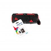 Kit Teclado/Mouse Ares V2 Essential Gamdias GKC100 Y Memoria Micro SD ADATA AUSDH8GCL4-RA1 8GB