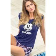 Pijama Feminino Mixte Adulto Short Doll Mickey Azul