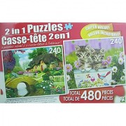 LPF 480 Piece 2-in-1 Puzzle ~ Storybook Cottage & Kittens in the Garden (2 x 240pc Puzzles - Mixed in 1 Box)