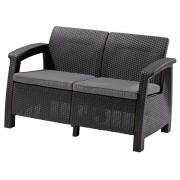 Corfu 2 személyes kanapé műrattan kerti bútor Grafit, szürke párnával ALLIBERT