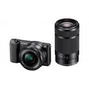 Aparat Foto Mirrorless Sony Alpha A5100 + Obiectiv cu zoom puternic 16-50mm + 55-210mm (Negru)