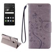 Huawei P9 Lite Butterflies Embossing Horizontal Flip Leather Case with Holder & Card Slots & Wallet & Lanyard(Grey)