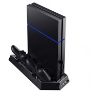 Kootek Vertical Stand with Cooling Fan for PS4, Controllers Charging Station with Dual Charger Ports and USB HUB for PlayStation 4 Console Dualshock 4