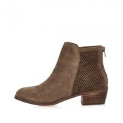 River Island Brown perforated suede ankle boots