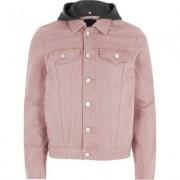River Island Washed pink hooded denim jacket