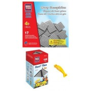 BRICTEK 19012 Gray Roof Tiles and 19015 Gray Baseplates Building Blocks (Compatible with Legos) with