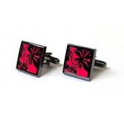 Tyler & Tyler Vine Black Metal Cufflinks Bright Pink