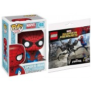 LEGO Marvel Heroes Spider-Man vs. The Venom Symbiote minifigure comes with the Super Jumper attachment + POP! Marvel 4 Inch Vinyl Bobble Head Figure - Spider Man #03