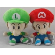 Super Mario Bros Plush 5 /12.5cm Baby Luigi and Baby Mario Set Doll Stuffed Animals Figure Soft Anime Collection Toy by Latim