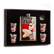 """""""Flask Set - Happy 21st Birthday Pin Up Girl with Funnel and 4 Shot Glasses"""""""