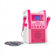 auna KA8P-V2 Karaokeanlage CD-Player 2x Mikrofon pink inkl. 3x Karaoke-CD