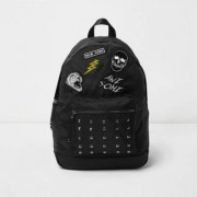 River Island Boys Black badge stud pocket backpack