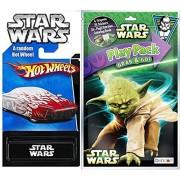 Yoda Star Wars Play Pack Fun & Hot Wheels Exclusive Car Coloring Book, Crayons, Stickers Party Hot Wheel Star Wars Car Fun Set
