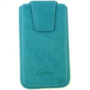 Emartbuy Classic Range Blue Luxury PU Leather Slide in Pouch Case Cover Sleeve Holder ( Size 3XL ) With Magnetic Flap Pull Tab Mechanism Suitable For Toshiba TG02
