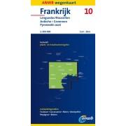 Wegenkaart - landkaart 10 Frankrijk ANWB Languedoc Ardeche Cevennen Pyreneeën Oost   ANWB Media