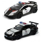 Playking Kinsmart Combo of Porsche 911 GT3 RS (Police) & Lamborghini Sesto Elemento (Police) - 5'' Die Cast Metal * Doors Openable * Pull Back Action - Color May Vary