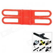 Universal Bicycle Silicone Holding Elastic Strap for Flashlight/Cell Phone - Red