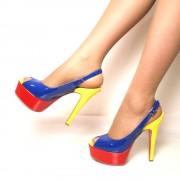 Sandali Peep Toe Multicolor in Vernice Tacco Alto a Stiletto T: 40