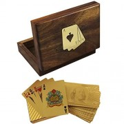 Deluxe Wooden Single Card Box with 1 Deck of Gold Plated Playing Card in Dollar Design by RoyaltyLane
