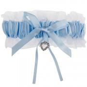Kousenband wit met blauw