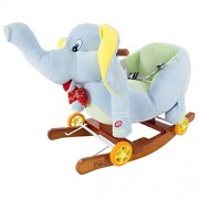 Rocking Horse Plush Animal Elephant 2-in-1 Wooden Rockers & Wheels, Seat & Seat Belt and Sounds, Ride on Toy for Babies 1-3 Years, by Happy Trails