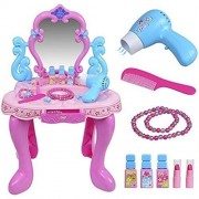 Olly Polly kids imported High quality Play Little Princess Kids Vanity Table and Chair Beauty Play Set with Fashion & Makeup Accessories