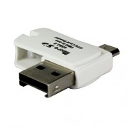 Heartly 2 in 1 Micro USB 2.0 Micro SD TF Card Reader Adapter With OTG + Micro USB PC & Android Phone - Back White