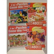 Lot of TWO 2 in 1 Puzzles by LPF 480 Piece Boxes 240 Pieces Per Puzzle Applelane Farms Marshmallow Jelly Cake w/ Berries & Fruit Punch Sweet Tooth Country Colorful Lollipop Sweets 4 Puzzles