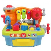 Techege Toys Multi-functional Workbench Kids Workshop Tool bench Tool Box Lights and Sounds Kids Tools