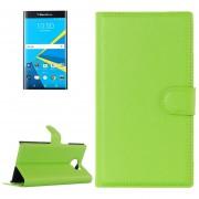 Para Blackberry Priv Litchi Texture Horizontal Flip Funda De Cuero Con Hebilla Magnetica Y Titular Y Ranuras Para Tarjetas Y Cartera (verde)