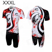Veobike Men's Cycling Short Sleeve Sweat Nylon Suit - Black + Red + White (Size XXXL)