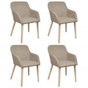 vidaXL Dubové béžové jídelní židle s područkami, do interiéru Set 4 ks