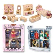 Melissa & Doug Deluxe Wooden Princess Castle Accessory Set: Prince Castle Furniture, Royal Family Wo