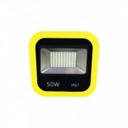 Proiector 100LED 50W Alb Rece 220V Rama Galbena