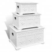 Set of Three White Painted Storage Chests
