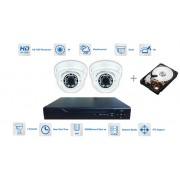 CCTV Kamerový set 2x kamera 720P s 30m IR a hybridní DVR + 1TB