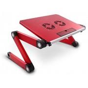 Lavolta Support Table de Lit Pliable Inclinable pour PC Ordinateur Portable avec Refroidisseur - 2 x Ventilateurs - red