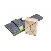 6 Piece Tegu Pocket Pouch Prism Magnetic Wooden Block Set, Natural