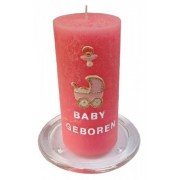 Roze geboorte kaars zelf maken 15 cm