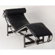 Replica Le Corbusier lounge LC4 with black Italian leather