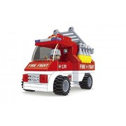 Fire Brigade Ausini Red Fire Truck with Ladder 101pc Educational Building Blocks Set Compatible To Lego Parts - Best Gift for Boys and Girls