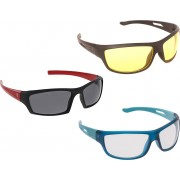 Vast New Day & Night Vision Driving Plus Summer Special (Yellow,White,Grey) COMBO 2 Cycling Goggles(Multicolor)