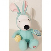 Hallmark 14 with ears up Snoopy In Aqua Bunny Suit Holding A Yellow Easter Egg With Giggle Sound by Halllmark