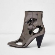 River Island Silver patent cone heel boots