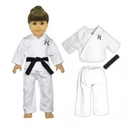 Doll Clothes - 3 Pieces Karate Set Fits American Girl Dolls, Madame Alexander and other 18 inches Dolls - Blouse, Pants and Black Belt by American House of Dolls