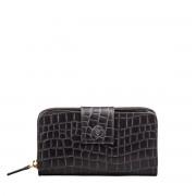 Schwarzes Mock Croc Leder Damen Portemonnaie - Brieftasche, Geldbörse, Geldbeutel, Kreditkartenetui
